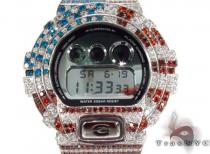 G Shock Mirror Metallic Vintage Metal White Watch DW-6900MR-7 with American Flag Case G-Shock Watches