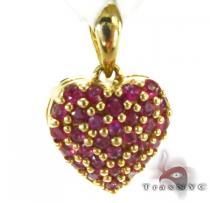 Yellow Gold Pink Sapphire Heart Pendant ジェムストーン ペンダント