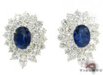 Cornflower Blue Sapphire Diamond Earrings Gemstone Earrings