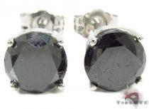 Black Stud Diamond Earrings Metal