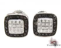 Prong Diamond Silver Earrings 30744 Sterling Silver Earrings