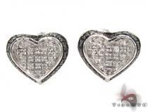 Prong Diamond Silver Earrings 30751 Metal
