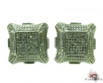 Prong Diamond Silver Earrings 30879