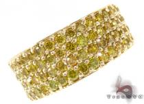 4 Row Canary Color Diamond Band Mens Diamond Rings