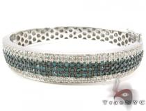 5 Row Icy Bangle Bracelet Diamond & Gold Bracelets