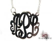 Silver Name Plate Monogram Necklace 30994 Silver