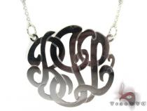 Silver Name Plate Monogram Necklace 30996 シルバーネックレス