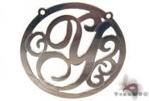 Silver Name Plate Monogram Pendant 31025 シルバーチャーム