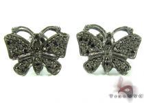 Prong Black Diamond Butterfly Silver Earrings 31148 Metal
