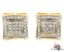 Prong Diamond Silver Earrings 31212 Metal