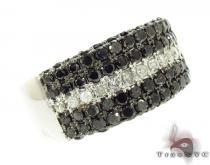 5 Row Black and White Color Daimond Ring Mens Black Diamond Rings