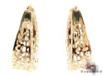 14K Gold Flower Hoop Earrings 31353 レディース ゴールドイヤリング