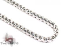 Franco White Silver Chain 36 Inches, 5mm,88.3 Grams シルバーチェーン