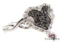 Prong Black and White  Diamond Heart Silver Ring Silver Rings For Women