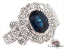 14K Gold Blue Sapphire Diamond Ring 31544 ジェムストーン ダイヤモンド リング