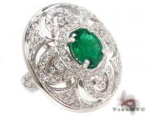Green Emerald & Diamond Ring 31548 ジェムストーン ダイヤモンド リング