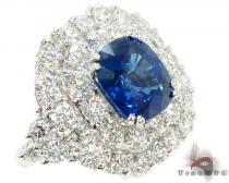 cushion cut Sapphire & Diamond Ring 31550 ジェムストーン ダイヤモンド リング