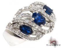 3 oval cut Sapphires Diamond Ring 31552 ジェムストーン ダイヤモンド リング