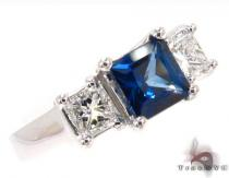 deep Blue Sapphire & Diamond, princess cut Ring 31561 ジェムストーン ダイヤモンド リング