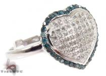 Prong Blue and White Heart Diamond Ring 31678 Anniversary/Fashion
