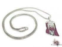Ruby Gemstone Jesus Silver Chain 31713 Diamond Jesus Piece