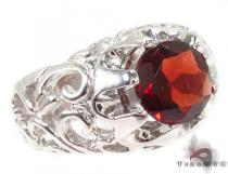 Mens Patterned Garnet & Silver Ring 31714 メンズ シルバー リング