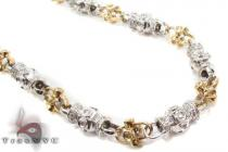Bezel Diamond Two Tone Gold Chain 30 Inches 7mm 85.66 Grams ダイヤモンド チェーン
