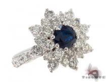 round cut Sapphire & Diamond Bouquet Ring 32017 ジェムストーン ダイヤモンド リング