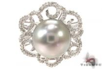 Prong Diamond Gray Pearl Ring 32034 Pearl Diamond Rings