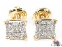 10K Yellow Gold Prong Diamond Earrings 32059 Mens Diamond Earrings
