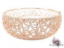 14K Rose Gold Prong Diamond Bangle Bracelet 32074 Diamond Bangle Bracelets