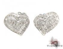 Prong Diamond Heart Earrings 32293 Stone