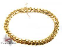 Miami Cuban Link Bracelet 9 Inches 7 mm 33.8 Grams Gold Mens Bracelets