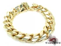 Miami Cuban Link Bracelet 7 Inches 14mm 88.1 Grams ゴールド メンズ ブレスレット
