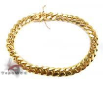 Miami Cuban Link Bracelet 8.5 Inches 7mm 34.4 Grams ゴールド メンズ ブレスレット