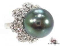 Black Pearl Diamond Ring 32668 Pearl Diamond Rings