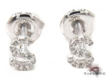 Prong Diamond Initial 'S' Earrings 32652 Stone