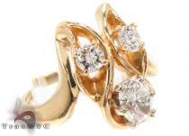14K Yellow Gold Triple Diamond Ring 32662 レディース ダイヤモンド リング