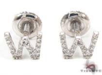 Prong Diamond Initial 'W' Earrings 32655 レディース ダイヤモンドイヤリング