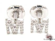 Prong Diamond Initial 'M' Earrings 32647 Diamond Earrings For Women