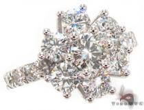 18K White Gold Starburst Diamond Ring 32708 レディース ダイヤモンド リング
