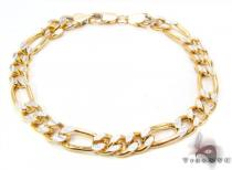 10K Figaro Diamond Cut Bracelet 33019 ゴールド メンズ ブレスレット