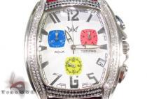Aqua Techno Diamond with Red Leather Watch アクアテクノ