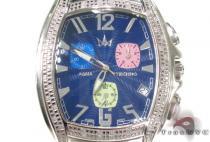 Aqua Techno Blue Steel & Diamond Watch アクアテクノ