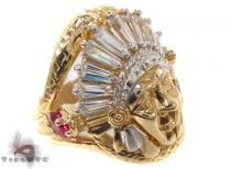 CZ 10K Gold Indian Head Ring 33258 Mens Gold Rings