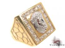 CZ 10K Gold Jesus Ring 33259 Mens Gold Rings