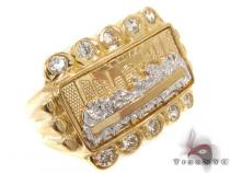 CZ 10K Gold Last Supper Ring 33270 Mens Gold Rings