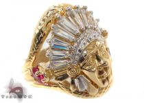 CZ 10K Gold Indian Head Ring 33273 Mens Gold Rings