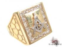 CZ 10K Yellow Gold G Ring 33306 Mens Gold Rings