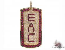 Custom Diamond and Ruby Gemstone EAC Pendant Diamond Pendants